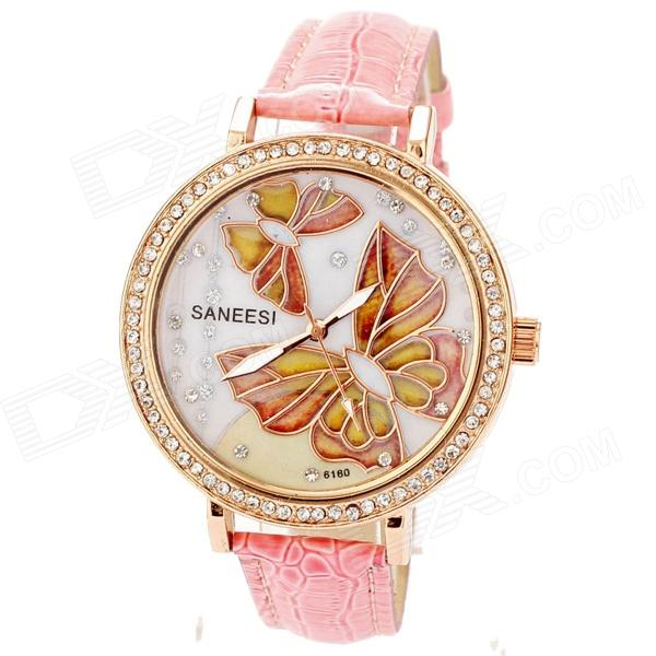 jxj16 Women's Stylish PU Leather Band Quartz Analog Wrist Watch - Golden + Pink (1 x 377)