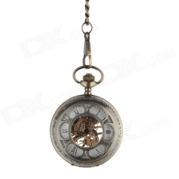 ORKINA Retro Style Stainless Steel Analog Manual Mechanical Pocket Watch - Bronze