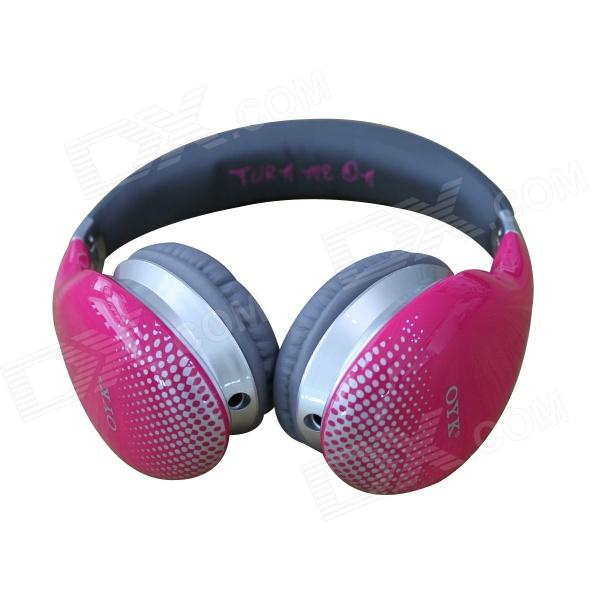 OYK OK-400 3.5mm Wired Stereo Headband Headphone w/ Microphone - Deep Pink + Black protective silicone back case pu leather cover stand for samsung galaxy s4 active i9295 deep blue