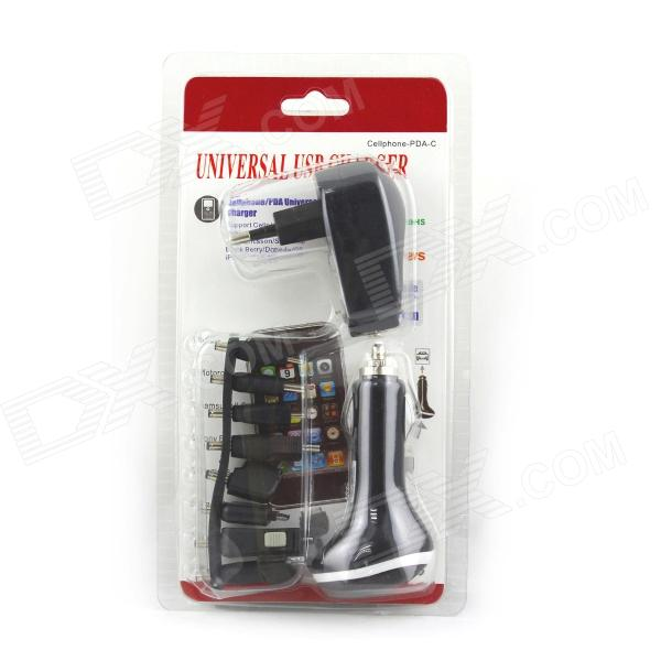 Universal UE Plug Power Adapter + Car Charger + Connector Set + Cabo para Celular - Preto