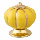 TaiShen TS Pumpkin Style Ceramic Cabinet / Drawer / Door Handle Knob - Yellow + Golden