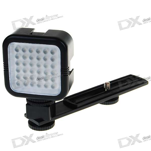 36-LED Rechargeable 5500K Video Light for Camcorder (100~240V)
