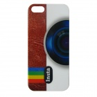 Camera Pattern Protective Plastic Back Case for IPHONE 5 / 5S - White + Brown + Multicolored