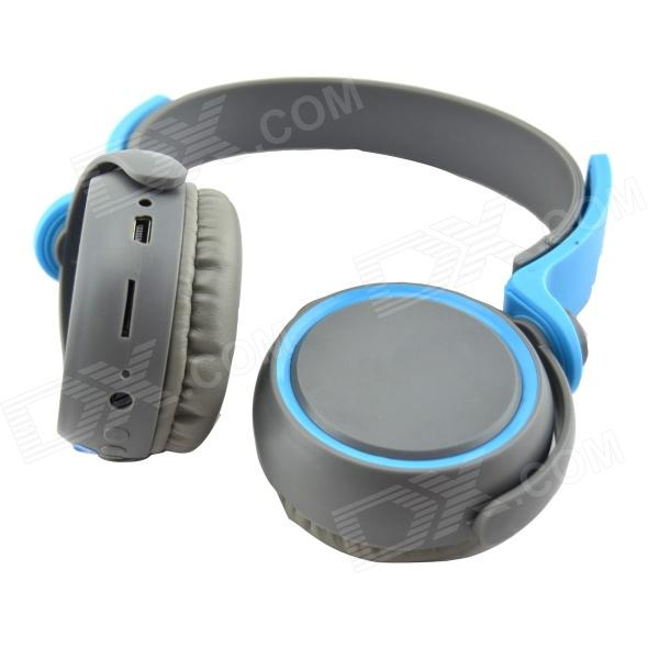 D-400 Bluetooth V3.0 Stereo Headband Headphone w/ Microphone / FM - Grey + Blue smilyou multifunction wireless bluetooth 4 1 stereo headphone sd card