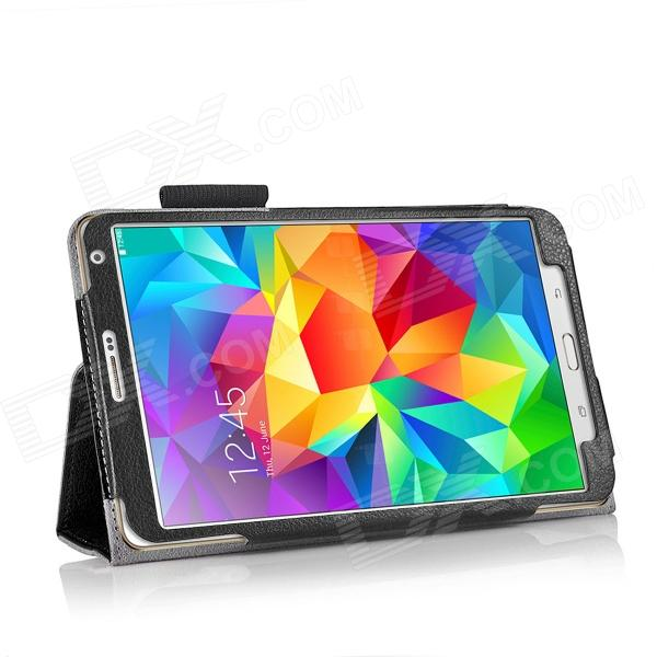 HighPro T700B Protective PU Leather Case w/ Stand + Strap for Samsung Galaxy Tab S 8.4 - Black