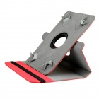 "ENKAY ENK-702 360 Degree Rotary Protective PU + Plastic Case w/ Stand for 7.0"" / 8"" Tablet PCs - Red"