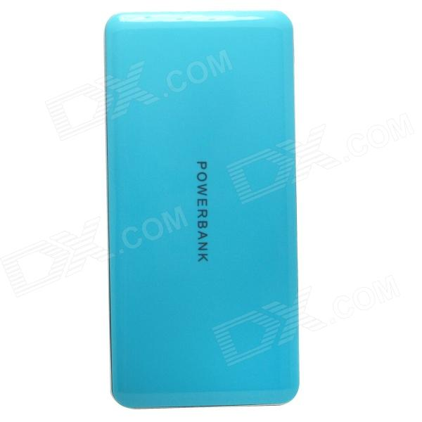 J-18 Universal Portable Dual USB Output 8000mAh Rechargeable Li-polymer Power Bank - Blue + Silver universal 20000mah portable li polymer battery dual usb power bank green silver