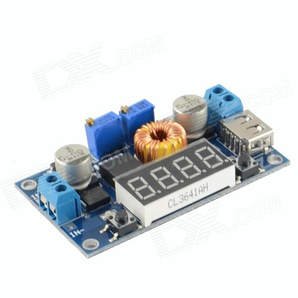 "HF-0.4"" 4-Digit 5A LED Drive Lithium Battery Charger w/ Voltmeter Ammeter DC to DC Module - Blue"