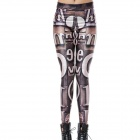 Elonbo Y1A92 Women's Retro Digital Painting Tight Leggings - Antique Silver + Ivory + Multi-Colored