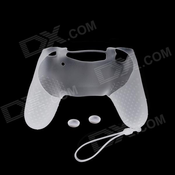 A-M09 Anti-Slip Silicone Case + Button Cap Set for PS4 Controller - Milky White