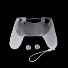 A-M09 Anti-Slip Silicone Case + Button Cap Set for PS4 Controller - Transparent