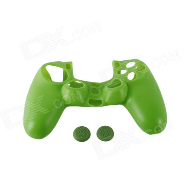 A-M06 Protective Silicone Case + Button Cap Set for PS4 Controller - Green