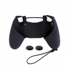 Anti-Slip Silicone Case + Button Cap Set for PS4 Controller - Black