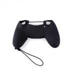 A-M011 Protective Silicone Case + Rocker Cap + Cross + Key Cap Set for PS4 Controller - Black