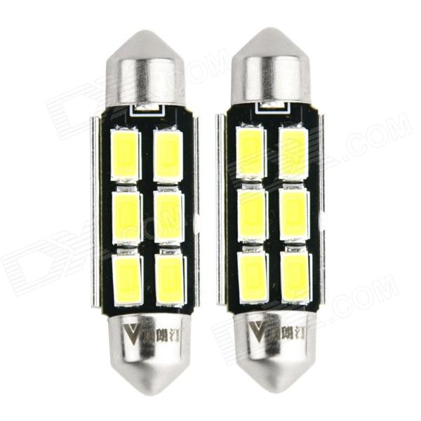 WaLangTing Festoon 40mm 5W 6000K 140lm 6-5630 SMD White LED Car Reading Lamp (12V / 2 PCS) 2014 new 2pcs 42mm festoon c10w plasma cob smd led canbus sv8 5 dome map trunk lights bulbs free shipping