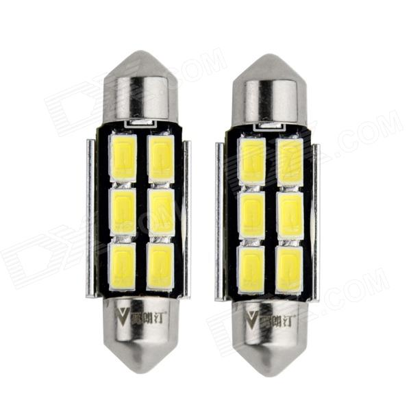 WaLangTing Festoon 38mm 5W 6000K 140lm 6-5630 SMD White LED Car Reading Lamp (12V / 2 PCS) 2014 new 2pcs 42mm festoon c10w plasma cob smd led canbus sv8 5 dome map trunk lights bulbs free shipping