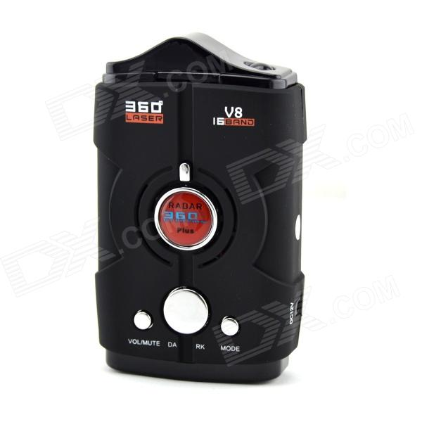V8 1.5 Screen 360 Degree Bilingual Digital Radar Laser Detector - Black + Red (12V)