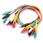 DIY Dual-Head Alligator Clip Test Lead Cable - Black + White + Multi-Colored (10 PCS)
