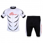 OQsport Men's Sports Dacron + Lycra Top + Pants Set for Cycling - White + Black (XL)