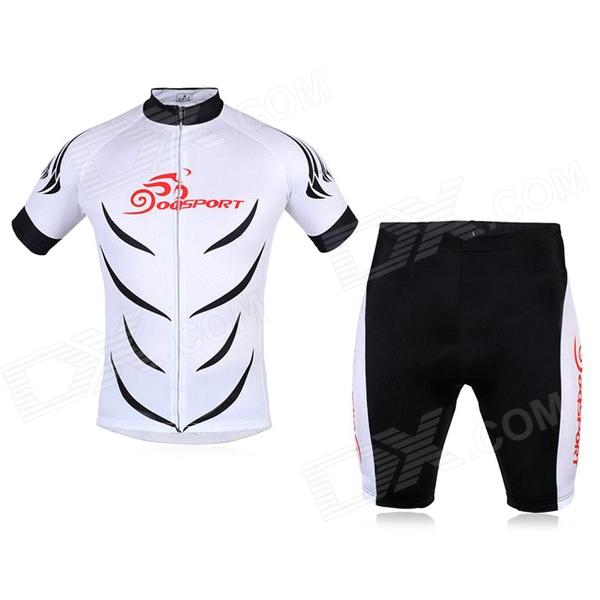 OQsport Men's Sports Dacron + Lycra Top + Pants Set for Cycling - White + Black (L)