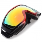 Fashionable TPU Frame PC Lens UV400 Protection Sport Skiing Goggles - Black + Red