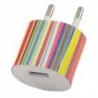 EU-028 Vertical Stripe Style EU Plug AC Power Charger for IPHONE / IPAD / IPOD - White + Multicolor