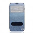Flower Show Protective PU + PC Flip-Open Case w/ Visual Window / Stand for Samsung Galaxy S5 - Blue