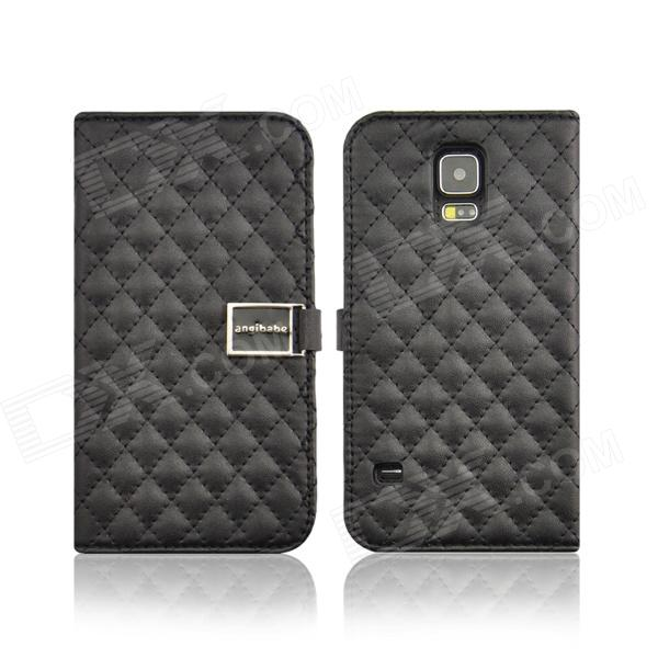 Angibabe Grid Pattern Flip Open PU Leather Case w/ Card Slot / Stand for Samsung Galaxy S5 - Black cute owl pattern pu leather flip open case w stand card slot for iphone 4 4s multi color