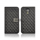 Angibabe Grid Pattern Flip Open PU Leather Case w/ Card Slot / Stand for Samsung Galaxy S5 - Black