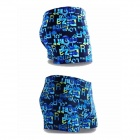 K8001 Men's Patterned Polyester + Spandex Swimming Trunks Pants - Blue + Yellow (XL)