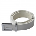 Women's Fashionable Casual PU Leather Wild Belt w/ Zinc Alloy Buckle - White (105cm)