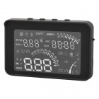 S05 4'' LCD HUD Head-up Display System w/ Speedometer / OBD II Cable for Car - Black