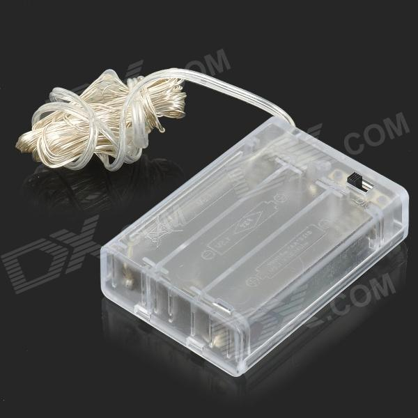 3W 2500MCD 464nm 50-SMD 0603 LED Blue Copper Wire Light Strip w/ Battery Case - Silver (4.5V)