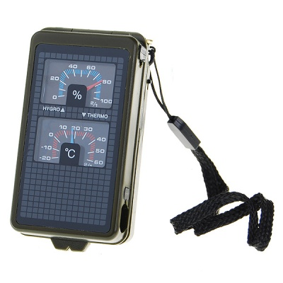 10-in-1 Outdoors Survival Mini Kit w/ Whistle + Compass + More - Black