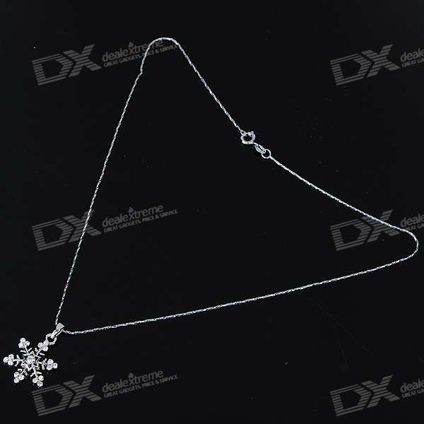 Alloy Crystal Snowflake Necklace (42CM-Length)