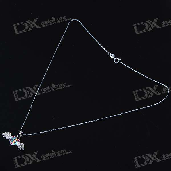 Alloy Crystal Wing Heart Necklace (42CM-Length)