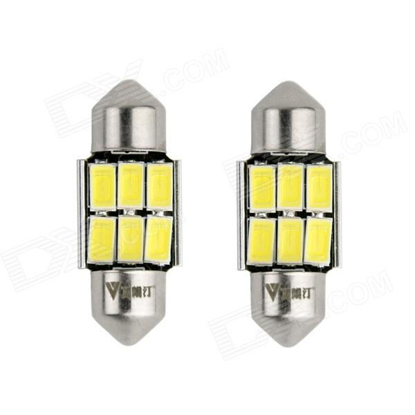 WaLangTing Festoon 32mm 5W 6000K 140lm 6-5630 SMD White LED Car Reading Lamp (12V / 2 PCS) 2014 new 2pcs 42mm festoon c10w plasma cob smd led canbus sv8 5 dome map trunk lights bulbs free shipping