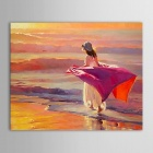 "Iarts DX0714-1 Hand-painted ""Girl in Skirt Strolling along the Beach"" Oil Painting - Red (50 x 60cm)"