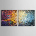 "Iarts DX0714-3 Hand-painted ""the Abstract Knives"" Style Oil Painting - Yellow + Blue (40 x 40 x 2cm)"