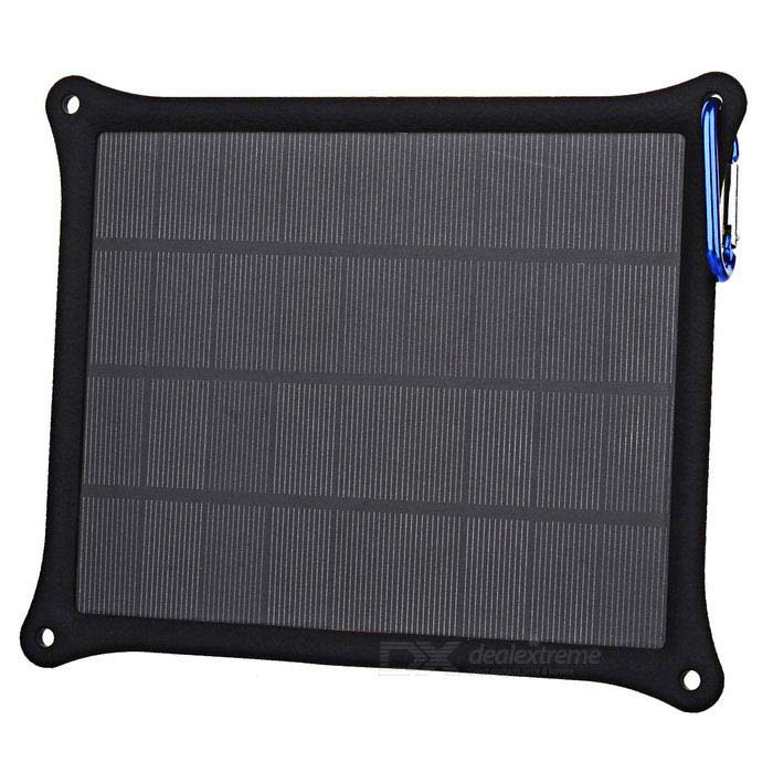 M-6261 5W USB Solar Powered Mobile Charging Panel Power Bank - Black