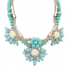 FenLu Fashionable Women's Flower Style Zinc Alloy + Resin Pendant Necklace - Light Blue