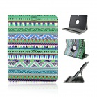 Protective 360 Degree Rotation PU Leather Case for Samsung P5200 - Green + White + Multicolor