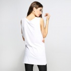 Catwalk88 Women's Casual Round Neck Sleeveless Cotton Vest - White (Size M)