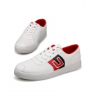 SNJ 98-518 Men's Fashionable Casual Canvas Shoes - White + Red + Black (Pair / EUR Size 42)