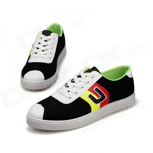 SNJ 98-518 Men's Fashionable Casual Canvas Shoes - White + Black + Multi-color (Pair / EUR Size 42) casual waterproof boot silicone shoes cover w reflective tape for men black eur size 44 pair