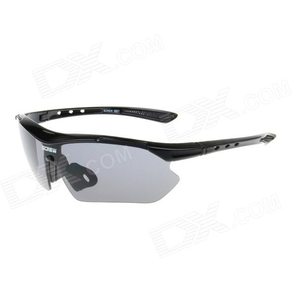 9801 Outdoor Sports Cycling UV400 Protection PC Lens Sunglasses Goggles - Black + Grey