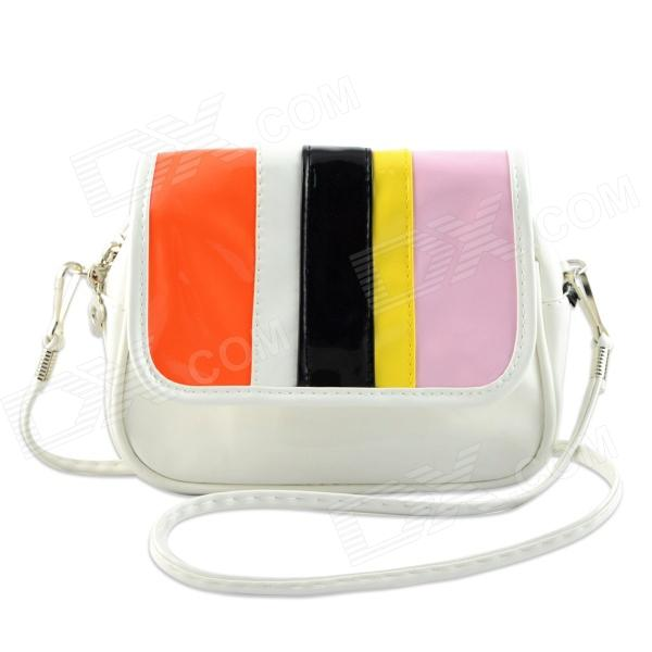 YWMDSP Women's Stylish Mini Flip Open PU Shoulder Messenger Bag - White + Multicolored