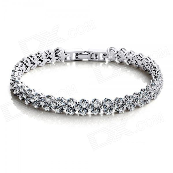 Women's Fashionable Super Shiny AAA Zircon Bracelet - Silver home treatment for allergic rhinitis phototherapy light laser natural remedies for allergic rhinitis