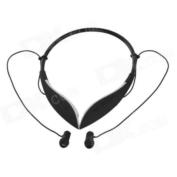 LBH1008 Bluetooth V3.0 Wireless Stereo Neckband Headphone w/ Microphone - Black + White hl good quality original wireless headset bluetooth headphone headband headset with fm tf led indicators for iphone cell phone