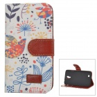 Patterned Flip-open PU Case w/ Holder + Card Slot for Samsung Galaxy S4 i9500 - White + Multi-color